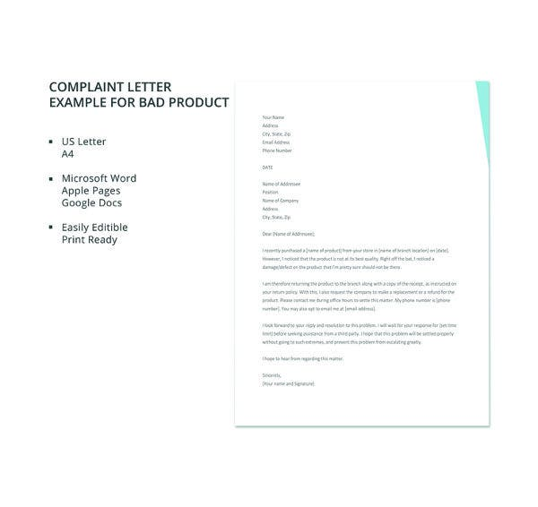 free complaint letter example for bad product template