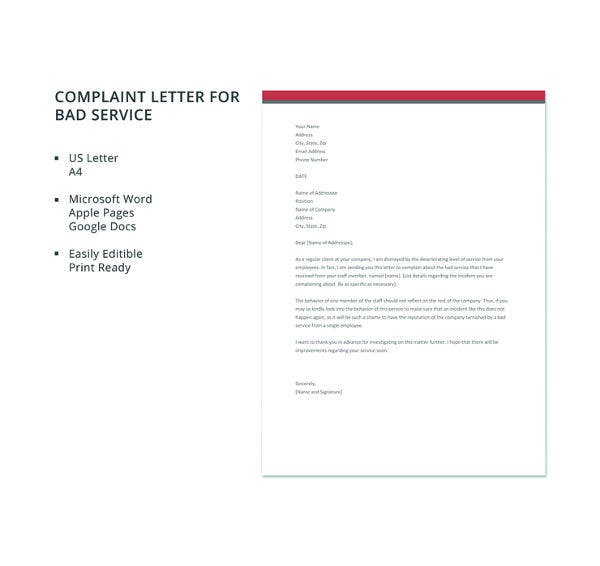 free complaint letter for bad service template