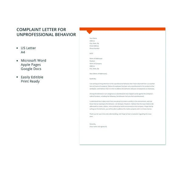 free complaint letter for unprofessional behavior template