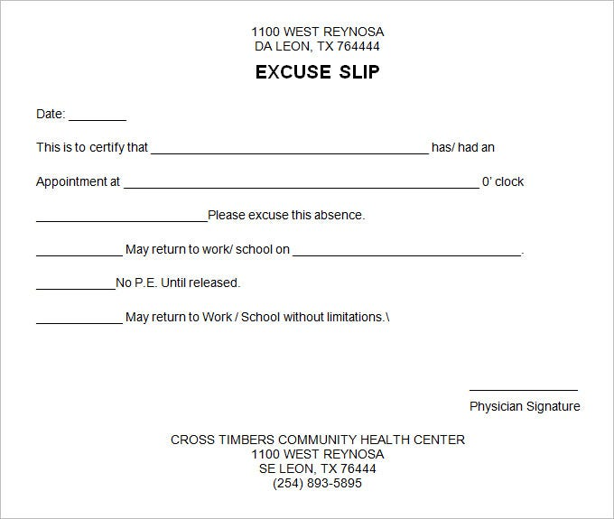 free doctors excuse template
