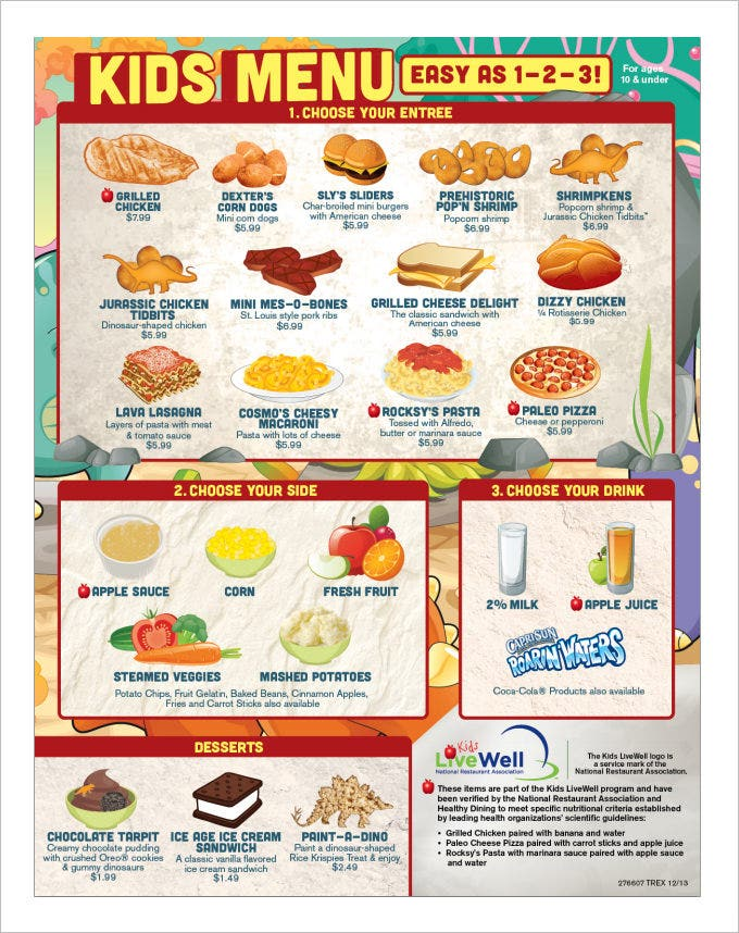 free printable menu templates for kids kids menu templates 26 free psd eps documents download