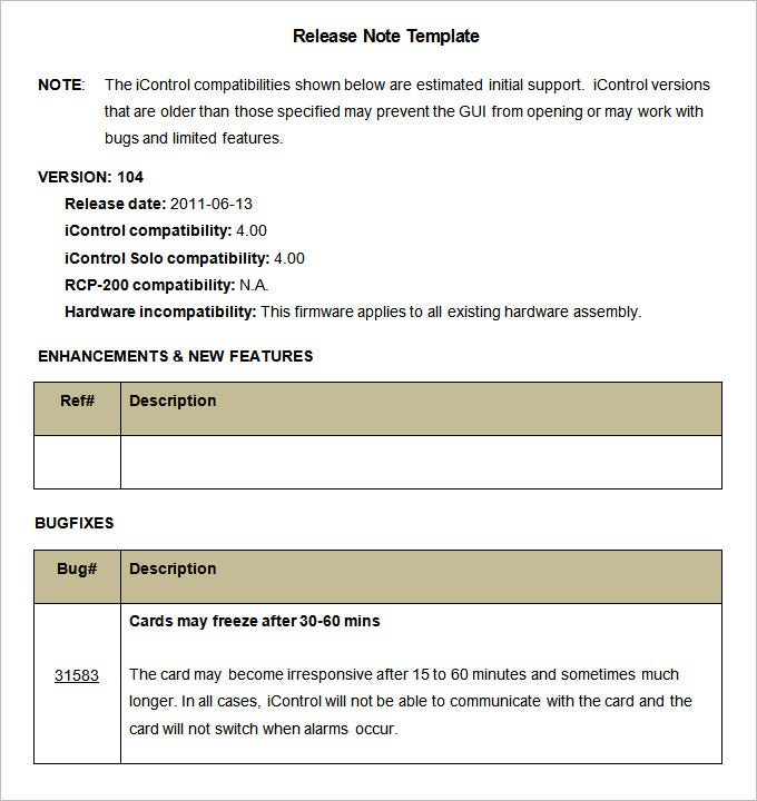 Release notes template 9 free word pdf documents for Software release notes template doc