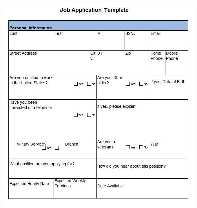 Application Template in Word