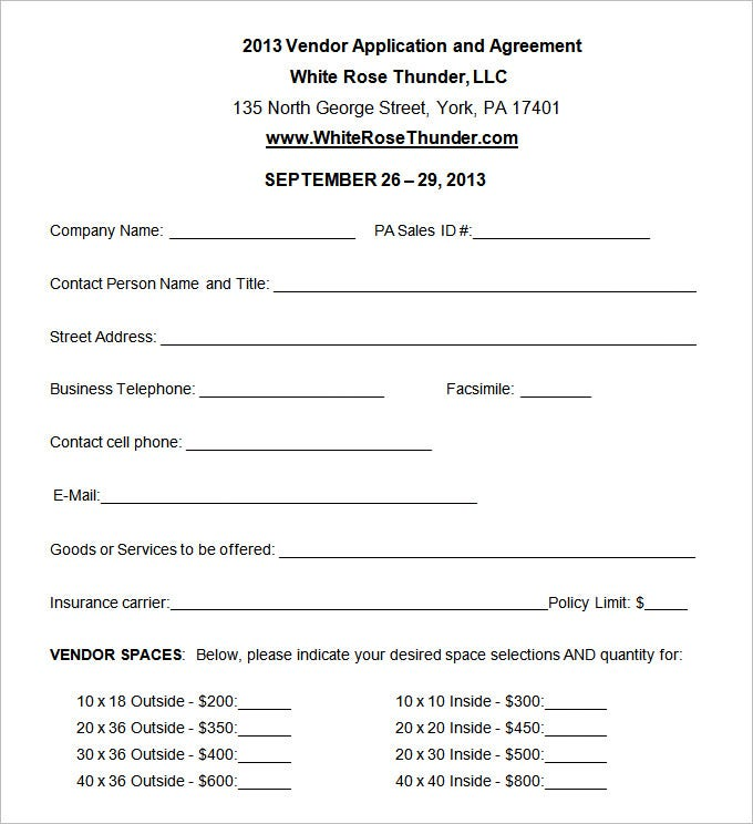 doc 680712 vendor form template vendor application template 12