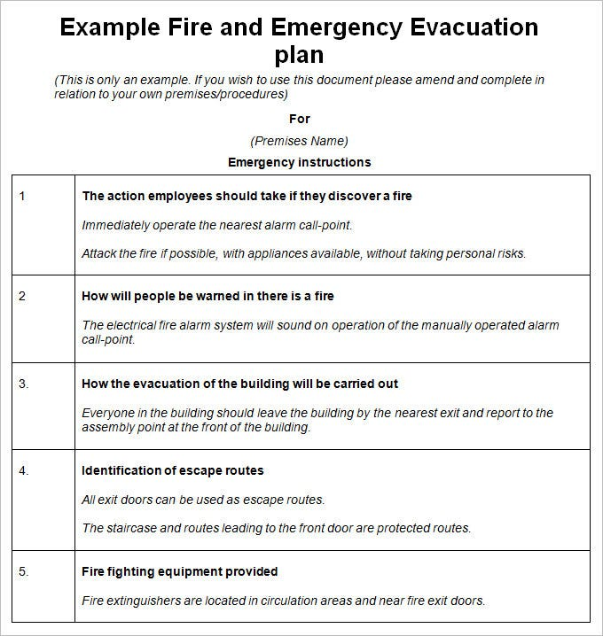 Emergency Evacuation Plan Template   Free Word  Documents