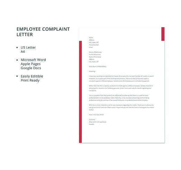 free employee complaint letter template