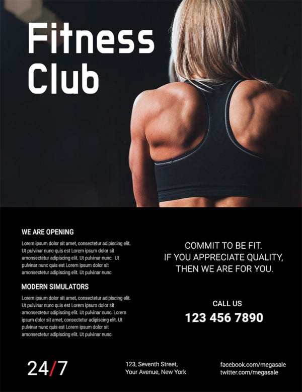 free fitness club flyer template