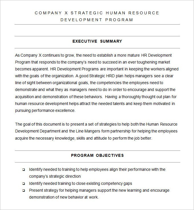 free hr strategic plan template