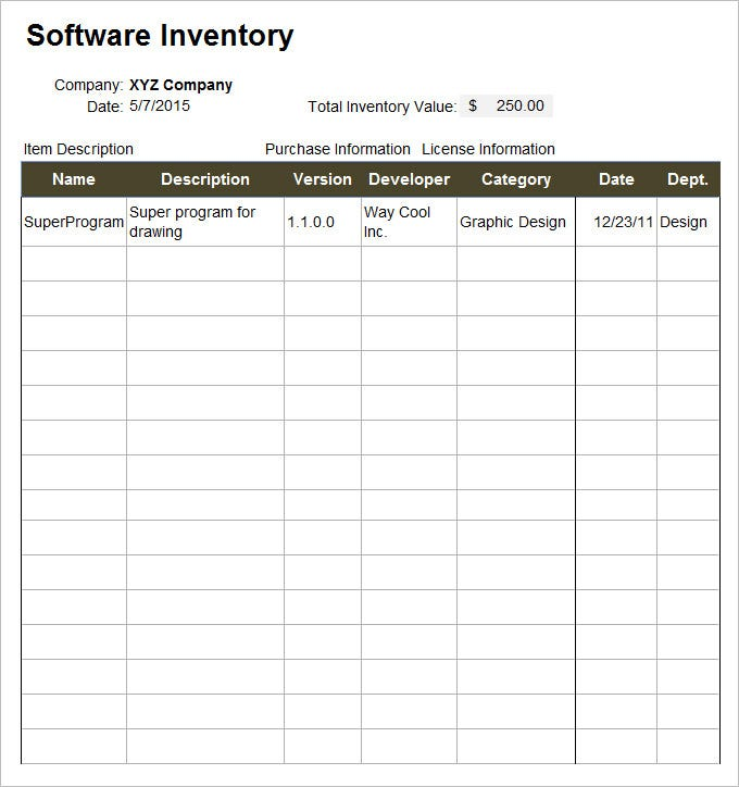 It Inventory Template - 5 Free Word, Excel Documents Download