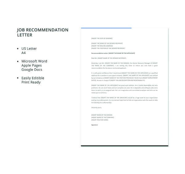 18+ Employee Recommendation Letters - PDF, DOC | Free & Premium