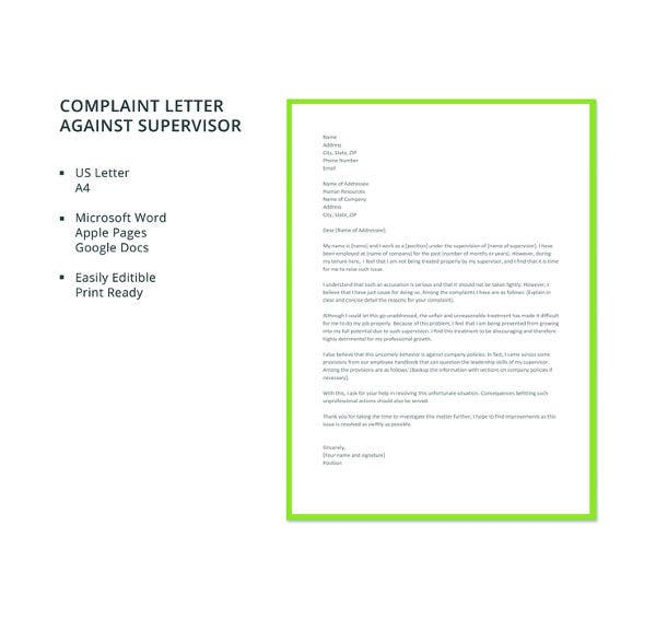 free letter of complaint against supervisor template