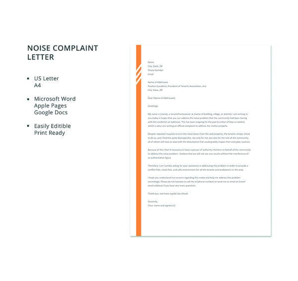 free letter of noise complaint template