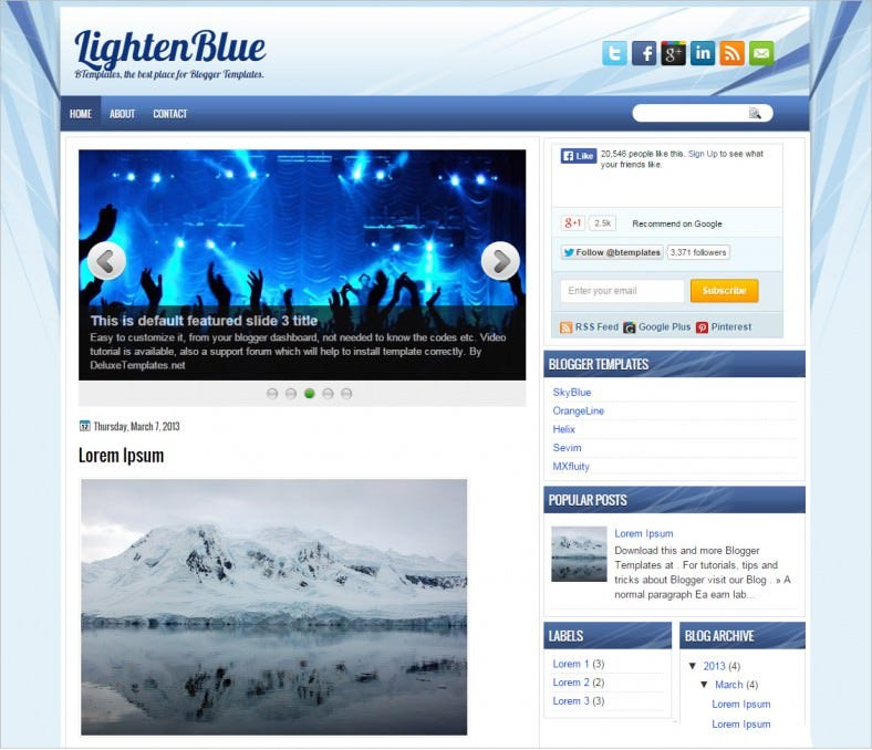 free lighten blue blogger template 788x678