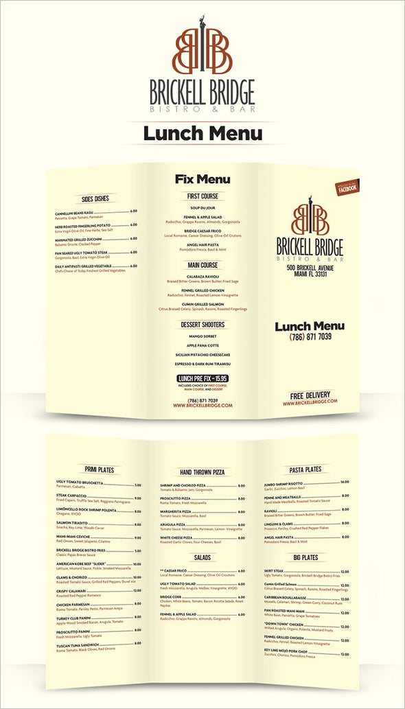 Free Lunch Menu Design Template  Lunch Menu Template Free