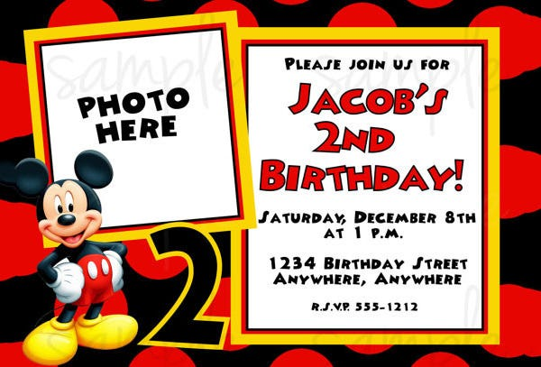 Charmant Free Mickey Mouse Birthday Invitation