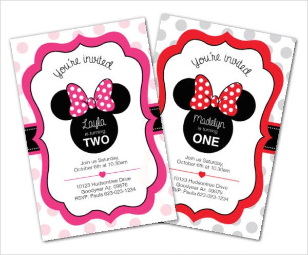 Awesome Minnie Mouse Invitation Template Free PSD Vector EPS - Minnie mouse 1st birthday invitations templates