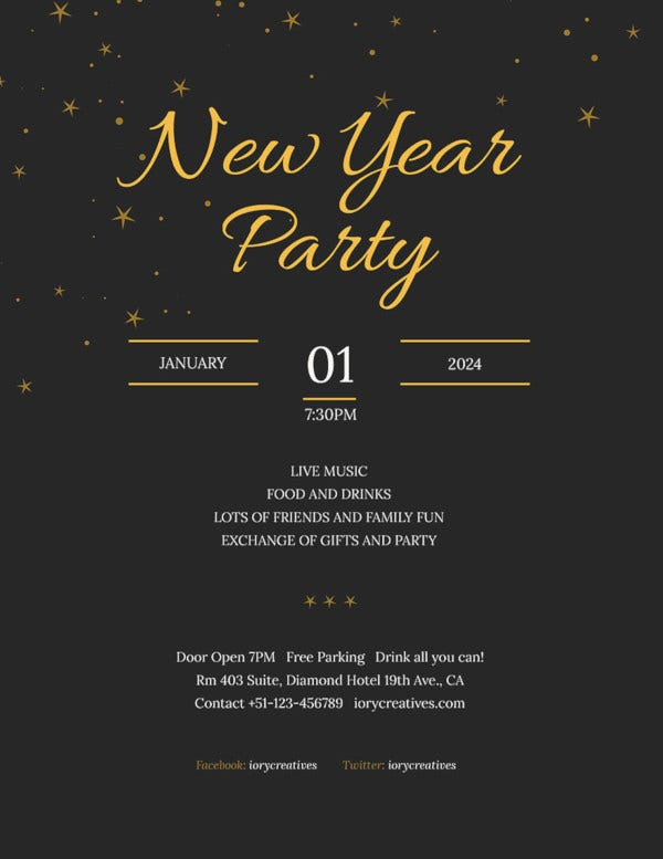 free new year holiday party flyer template