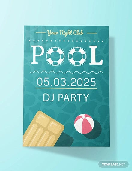 free printable pool party invitation template