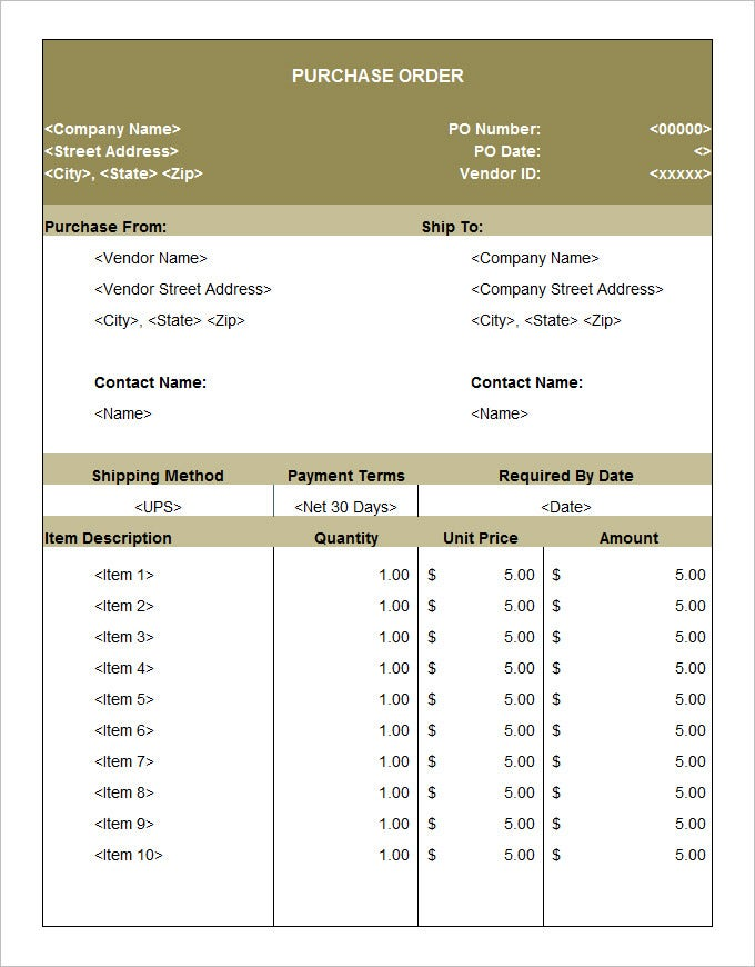 blank purchase order template .