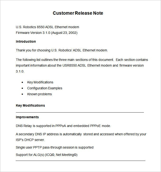 free release note template download