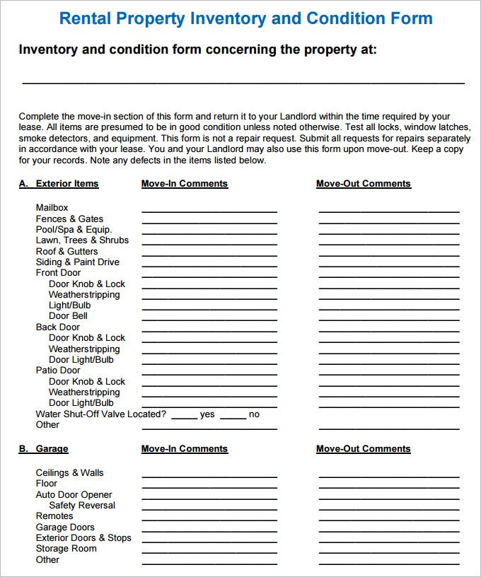 Sample Rental Inventory Template - 7 Free Excel, Pdf Documents