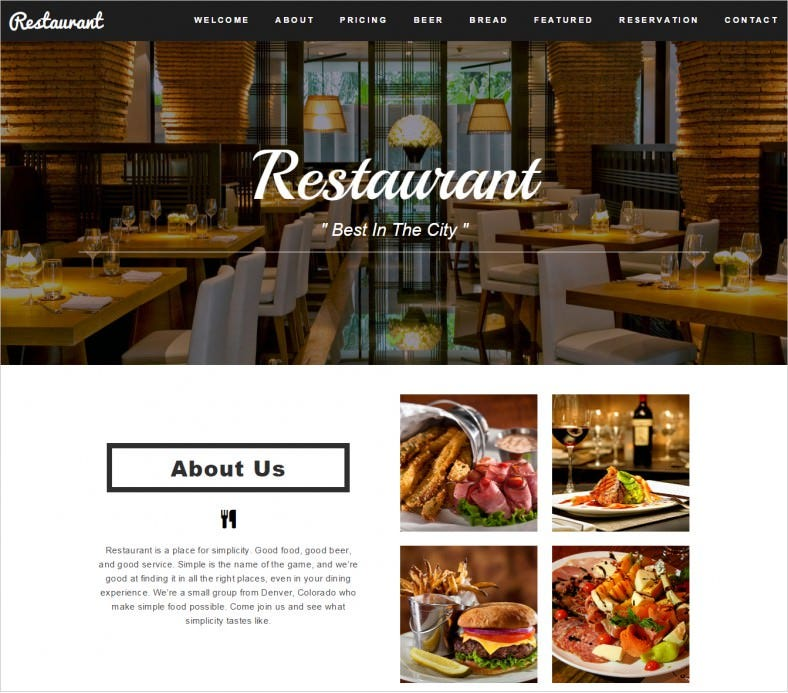 free restaurant cafe html5 template 788x693