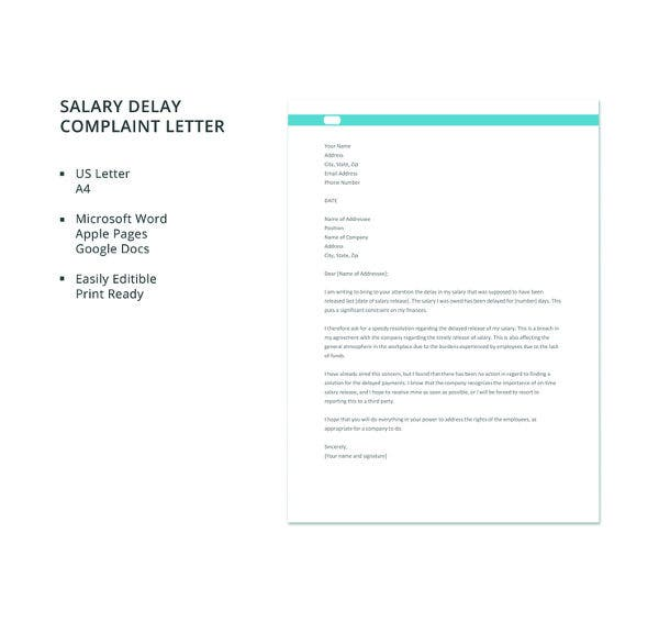 free salary delay complaint letter template