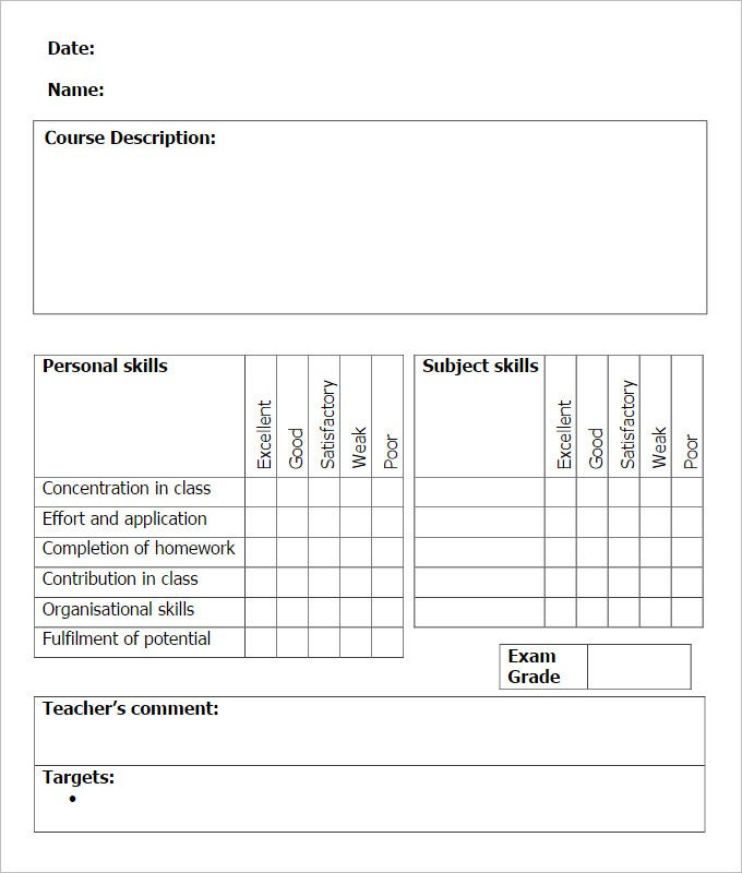 Sample School Report Templates  Examples   Free Word Pdf