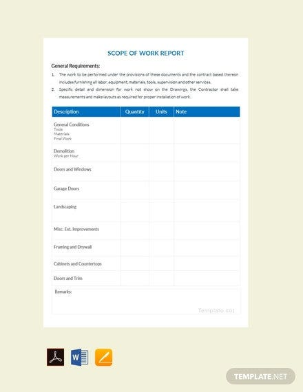free scope of work report template