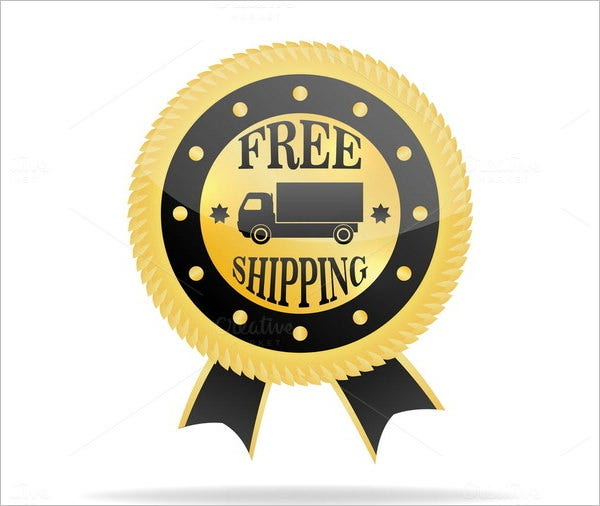 free shipping label golden badge