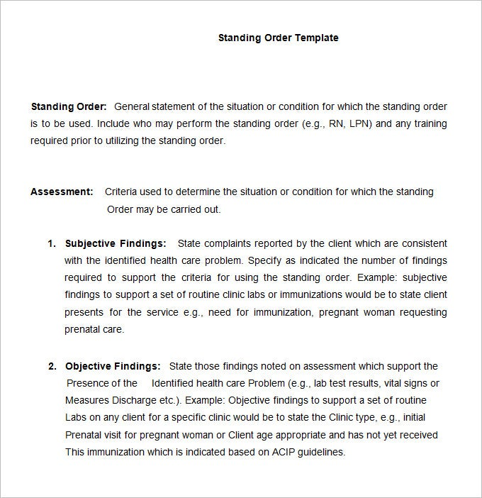 Standing Order Template 9 Free Word PDF Documents Download – Free Order Form Template Word