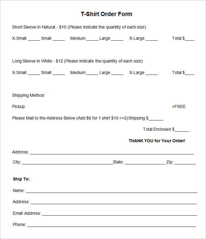 Attractive T Shirt Order Form Template Word