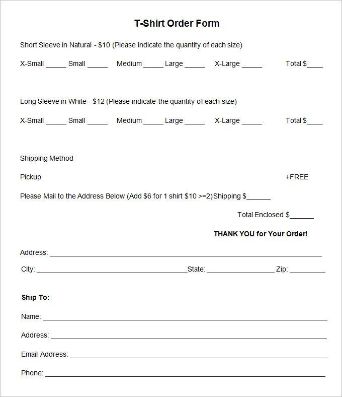 Shirt Order Form Templates to Simplify Bulk Ordering