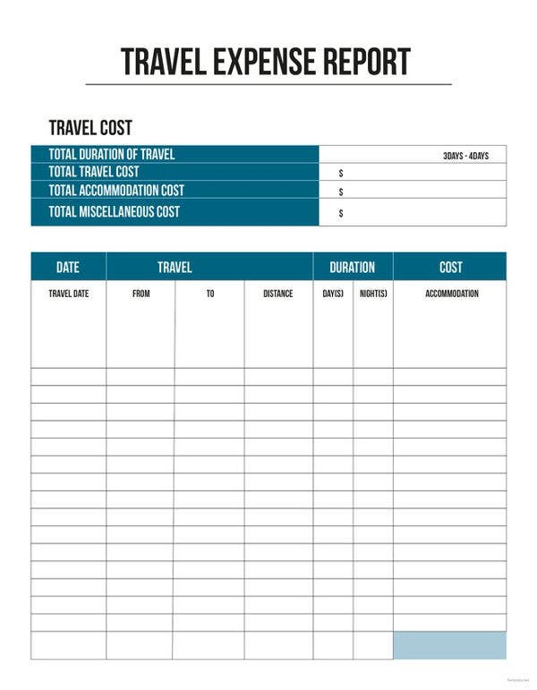 11 travel expense report templates free word excel pdf free travel expense report template accmission Choice Image