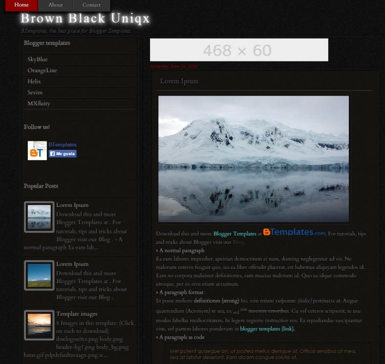 free unique black blogger template 788x746