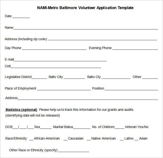 free volunteer application template pdf download