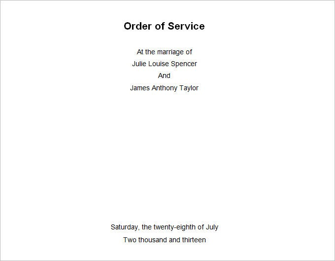 free wedding order of service templates