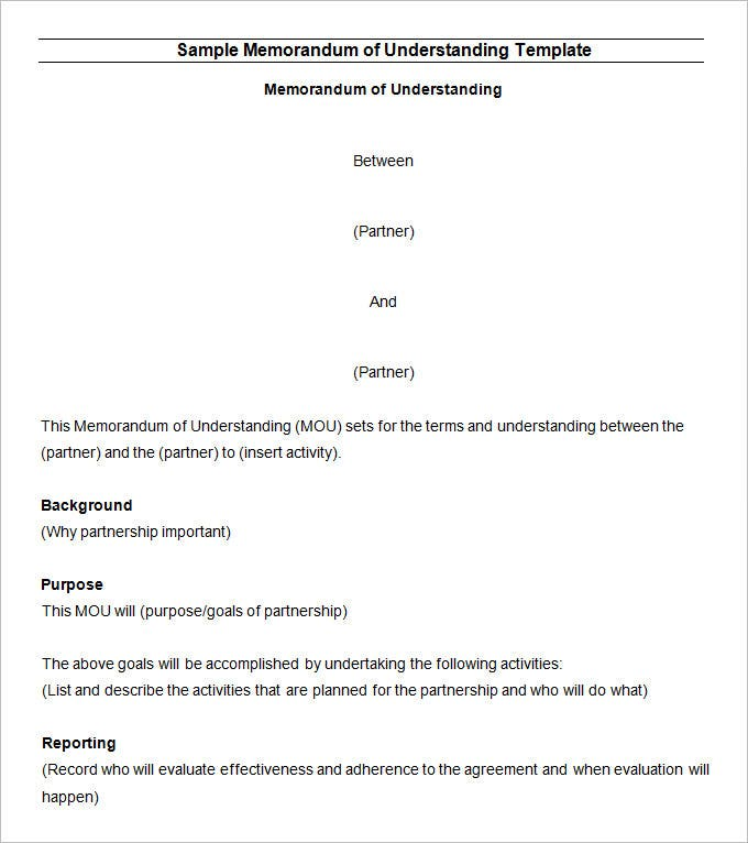 Memorandum of Understanding Template - 14 Free Word, PDF Documents ...