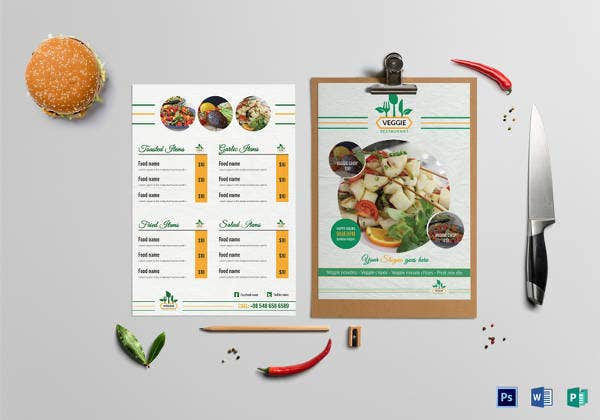 fresh vegetarian food menu template