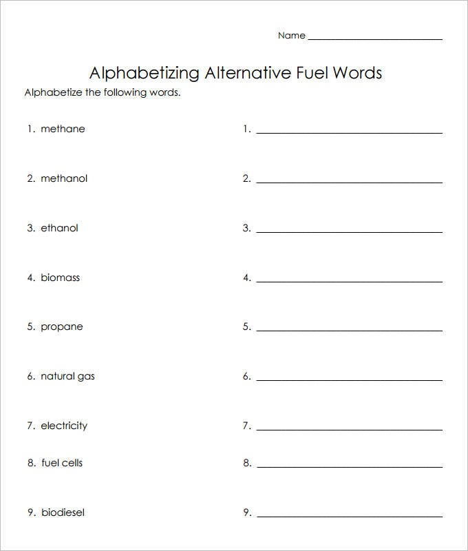 fuel words language art worksheet template