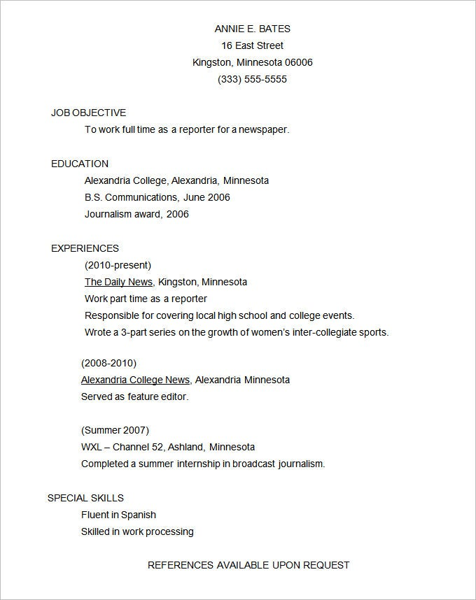 Functional Resume Example Template. Free Download