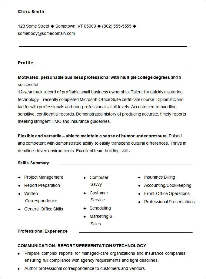 samples of functional resume format