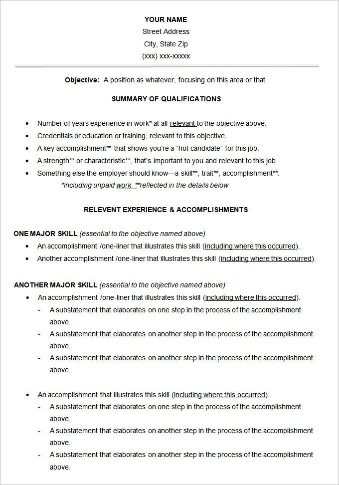 Functional Resume Style Template  Resume Job Examples