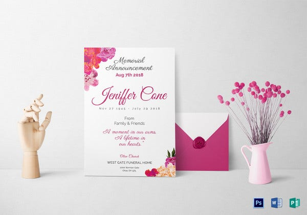 funeral invitation psd template