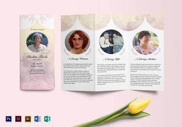 30 funeral program brochure templates free word psd for Bi fold brochure template indesign free