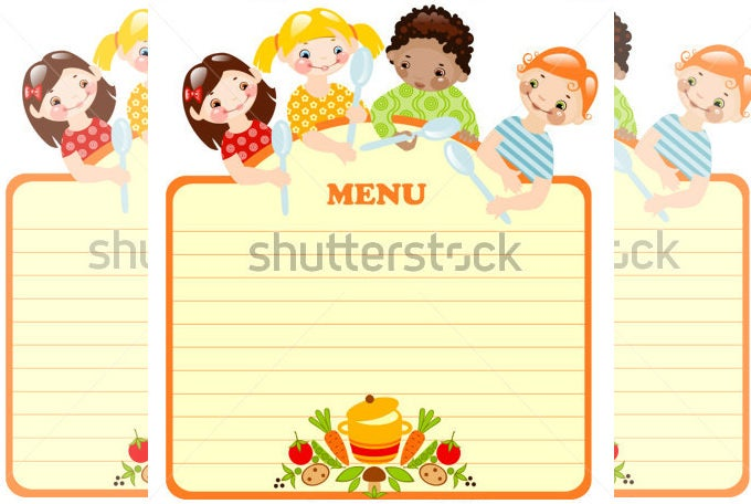 Lovely Funny Kids Menu With Spoons  Free Kids Menu Templates