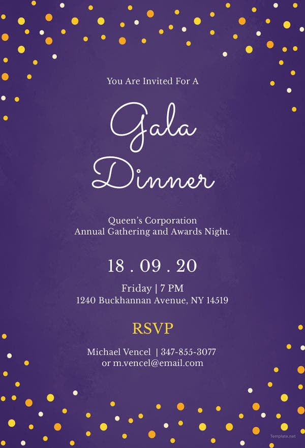 Gala Dinner Night Invitation Template