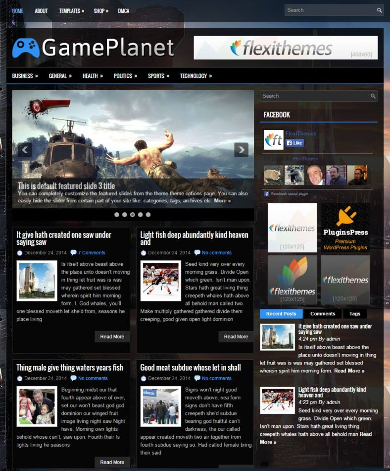 game planet dark black responsive wordpress theme 788x950