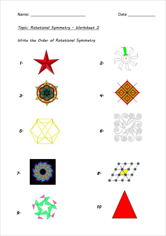 geometry rotational symmetry worksheets