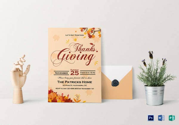 get together thanks giving invitation card template